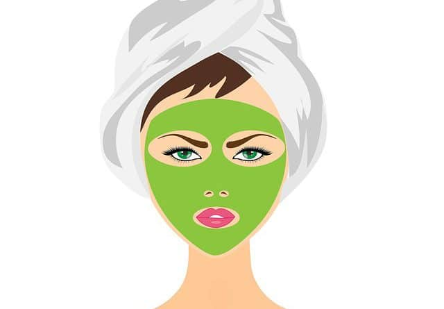woman with green face mask