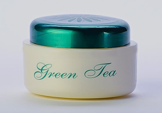 green tea face cream in the jar