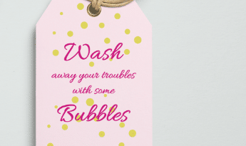free girly bath product tag