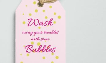free girly bath product tag