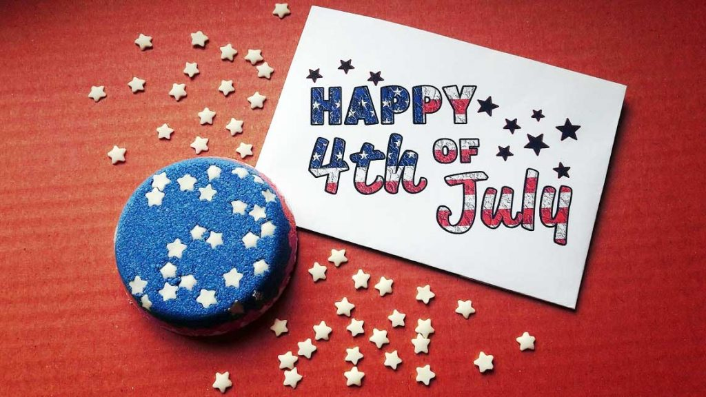 Beautiful craft project for 4th of july. Bath bomb layered with red blue colors and white stars resembles American flag