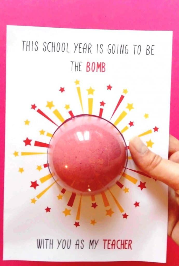 back to school gift with diy bath bomb and free printable card