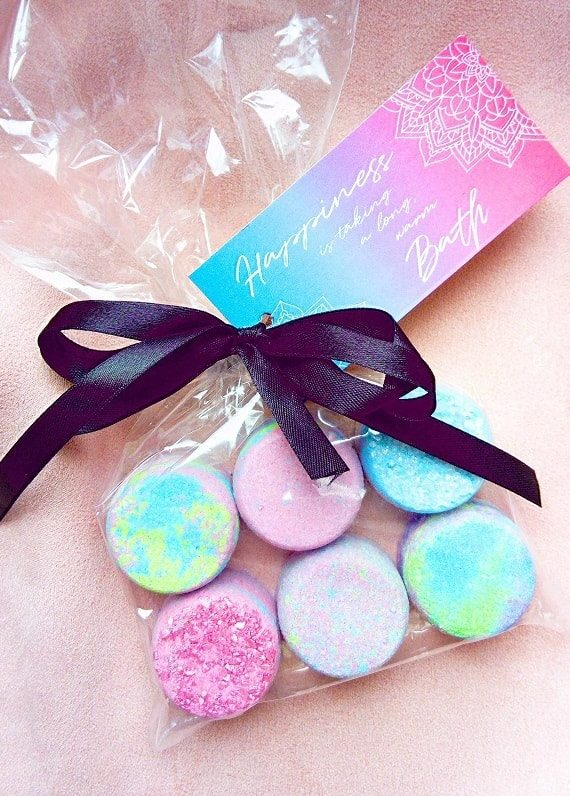 DIY mini bath bomb set packaged as a gift with a free gift tag attached