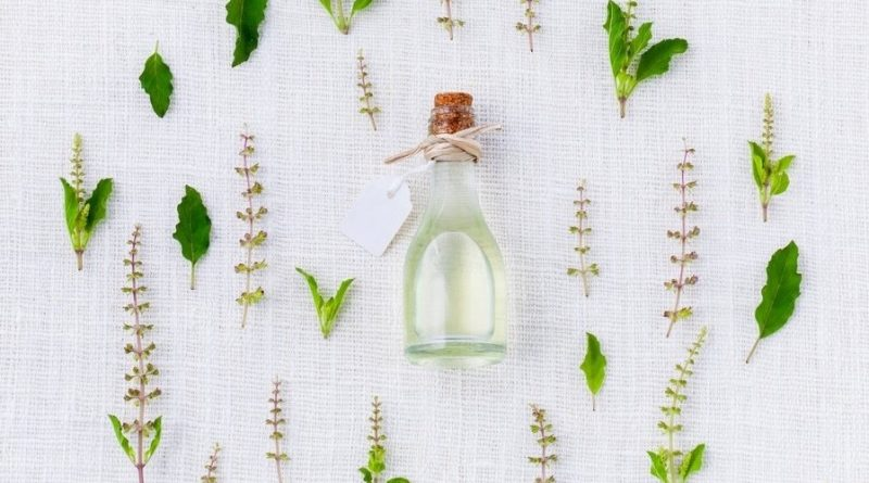 Tea tree essential oil for skin in a small bottle