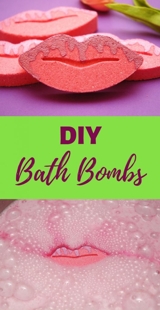 DIY bath bomb recipe that foams and floats. Pink lip bath bombs