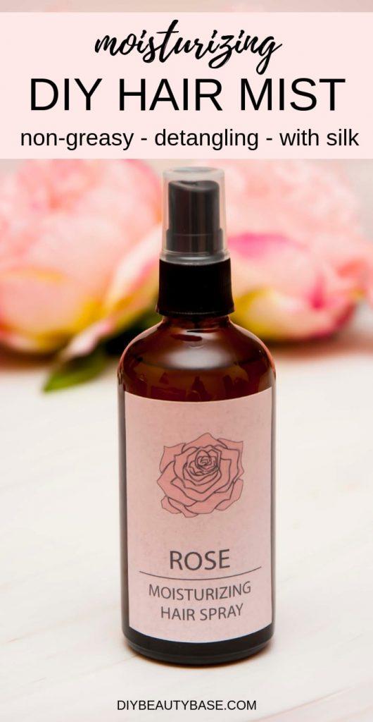 DIY hair moisturizer spray with rose water and aloe vera and free printable rose label