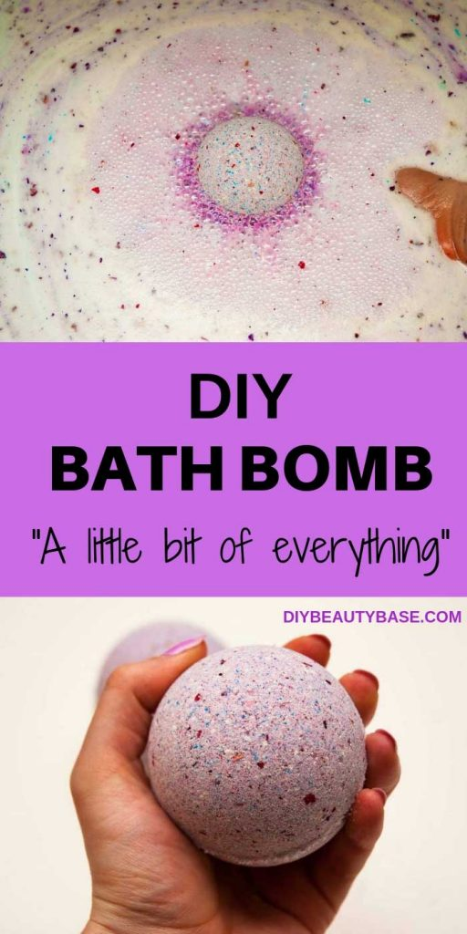 DIY foaming bath bomb recipe that is very easy because bath bombs don't have to be smooth. Learn to make these foaming DIY bath bombs with rose petals, sea salt and color speckles. #DIYBATHBOMBS #DIYBEAUTYBASE #BATHBOMBS
