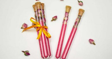 pink DIY rose bath salts in tubes as cute DIY gifts or favors