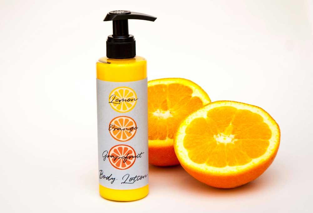 Homemade lotion recipe with citrus essential oils
