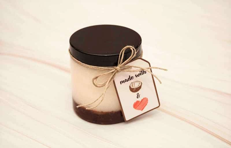 DIY coconut oil sugar scrub with a gift tag