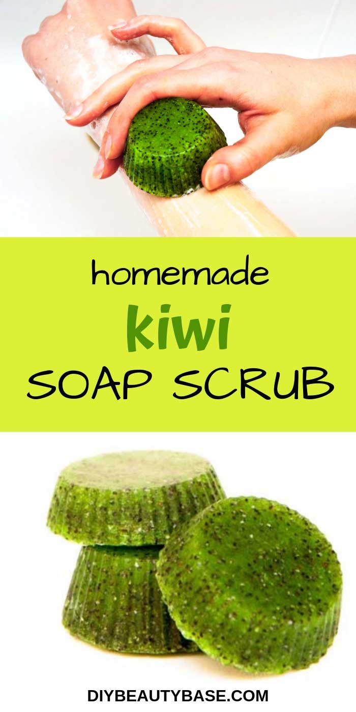 DIY soap scrub bar recipe with kiwi scent