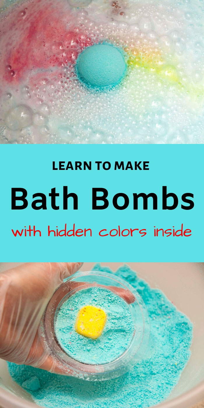 Learn to make DIY bath bombs with hidden colors inside similar to the LUSH ones. This bath bomb recipe will shows you how to easily make bath bomb embeds and hide them insdie the bath bombs to create a beautiful color show in the bathtub. These DIY bath bombs can be customized to achieve many different looks. #bathbombs #diycrafts