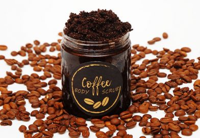 DIY coffee scrub in a jar with printable label on it