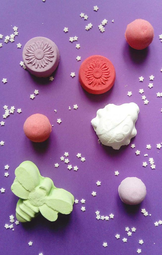 Different shapes of bath bombs for kids