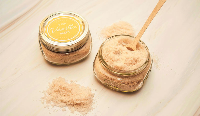 vanilla scented homemade bath salts