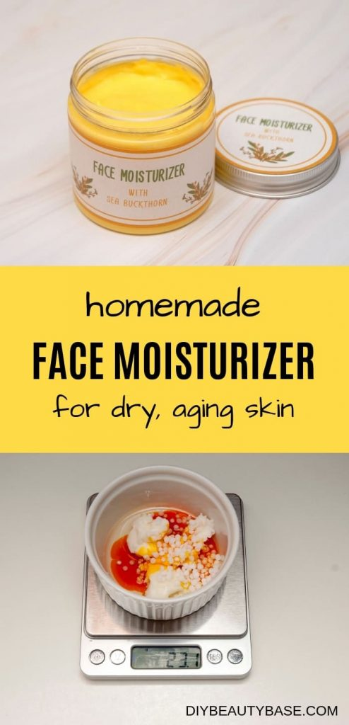 Homemade face moisturizer for dry aging skin in a jar with free printable labels and a bowl with ingredients such as shea butter, sea buckthorn oil, sweet almond oil and bmts