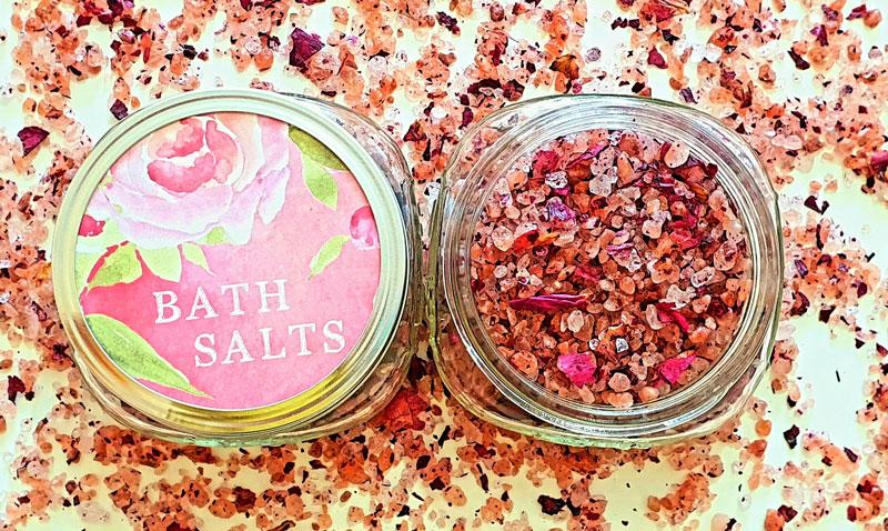DIY Himalayan bath salts with essential oils and rose petals