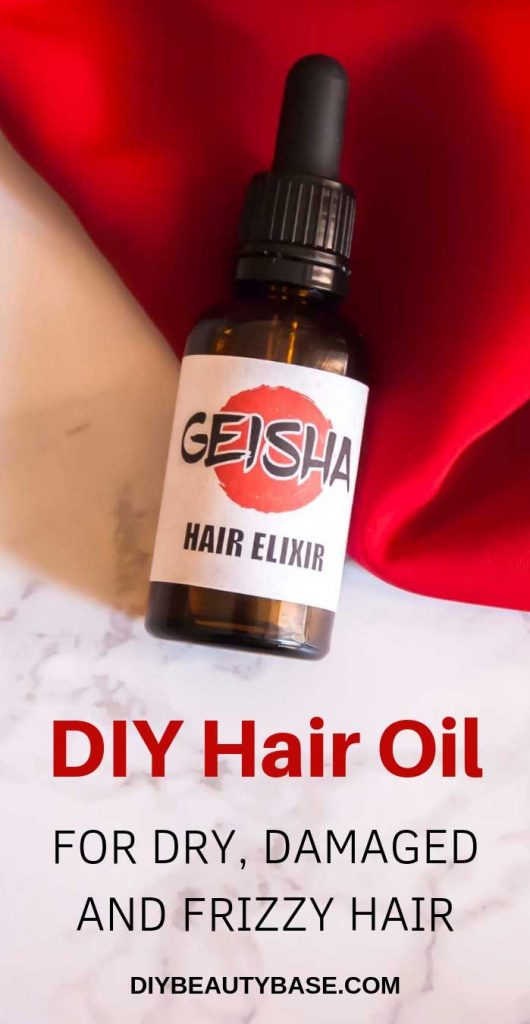 DIY hair oil for dry hair bottle with a geisha label