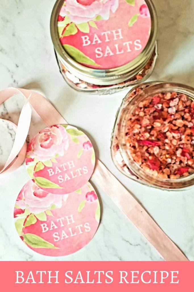 Rose bath salts labels