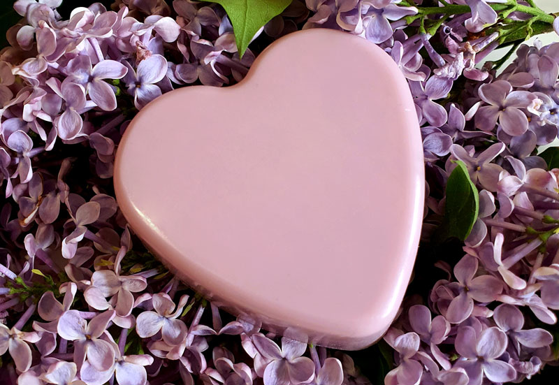 DIY lilac soap made from melt and pour base