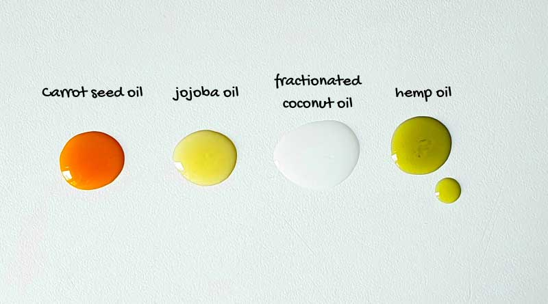 different colors of carrier oils