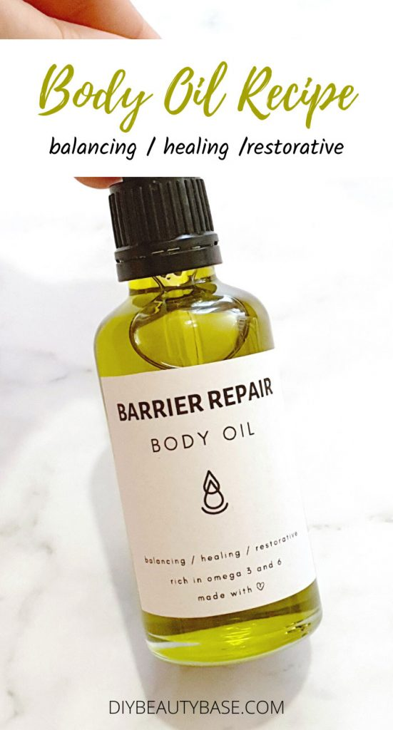 DIY body oil with a printable label on it
