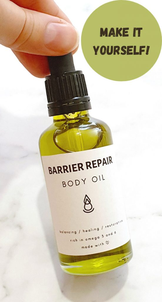 making homemade body oil with natural olis and essential oils