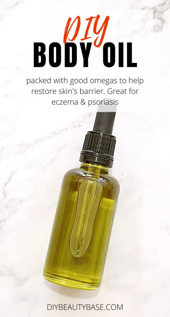green homemade body oil with hemp seed oil
