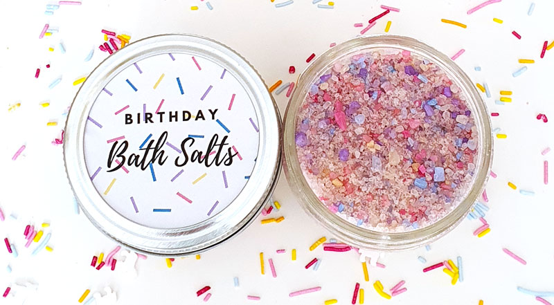 DIY bath salts as a birthday gift