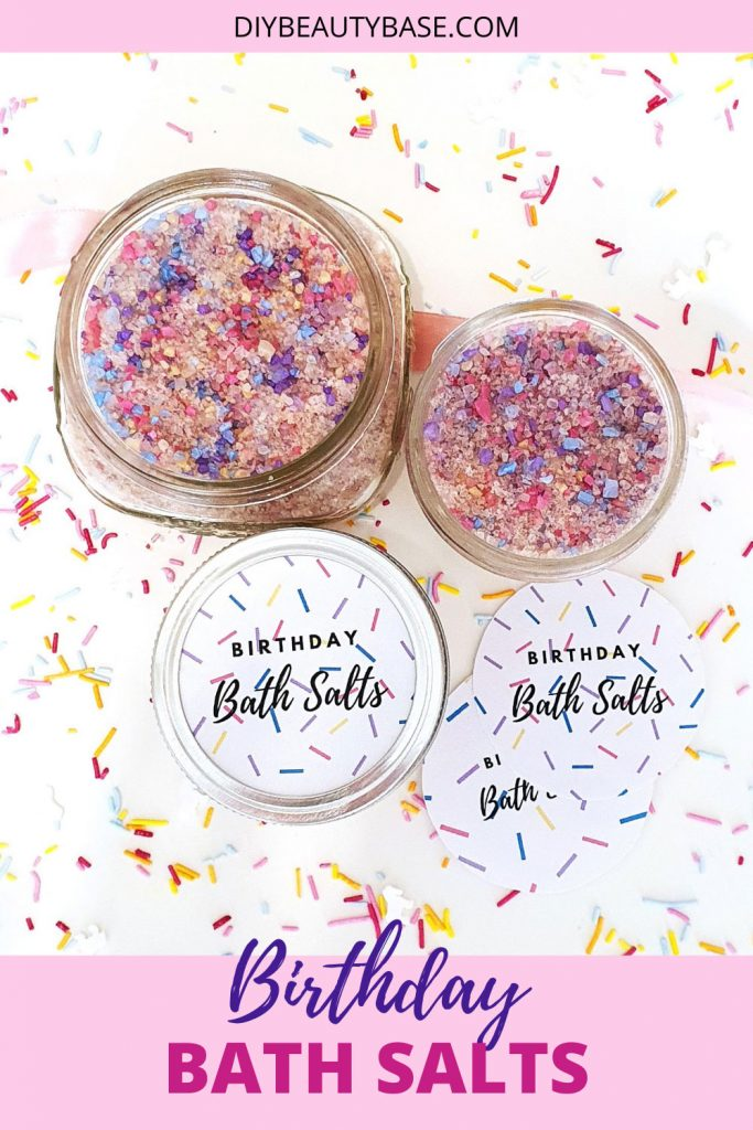 DIY Birthday bath salts gift with free printble labels