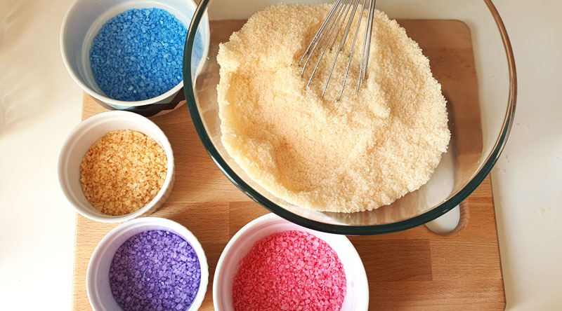sea salt and Epsom salts colored with mica powder