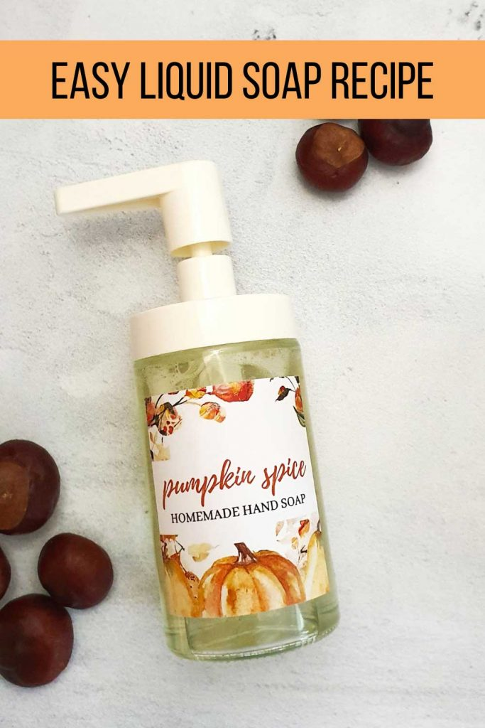 DIY castile liquid soap recipe with pumpkin pie essential oil blend