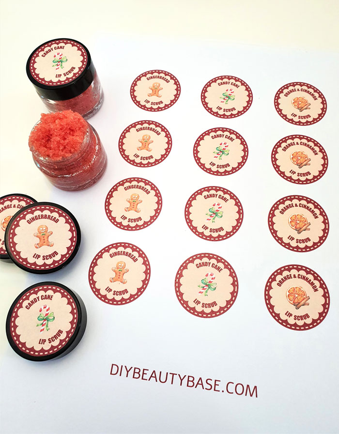 winter holiday lip scrub labels for DIY christmas gift