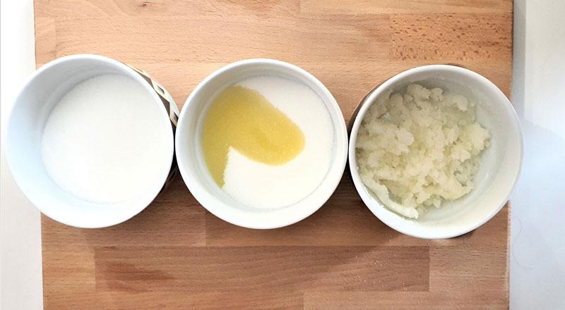 mixing sugar and jojoba oil to make lip scrub