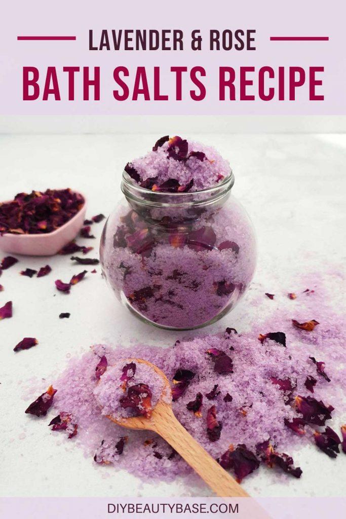DIY lavender rose bath salts recipe with rose petals