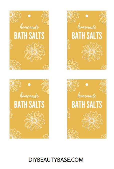 yellow free printable bath salts labels with flowers