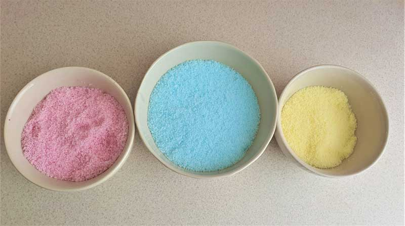 homemade bath salts in different colors