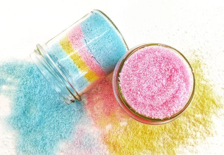 colorful DIY fizzing bath salts
