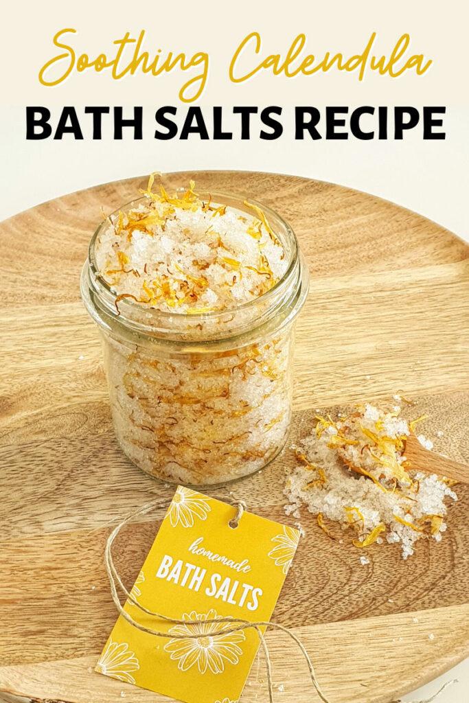 DIY bath salts recipe with calendula infused oil and dried calendula petals